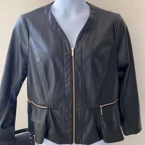 Faux Black Ruffle Leather Jacket withGold Zippers